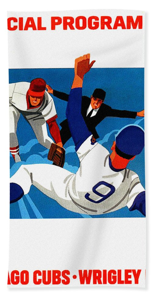 Chicago Cubs Hand Towel featuring the painting Chicago Cubs 1974 Program by John Farr