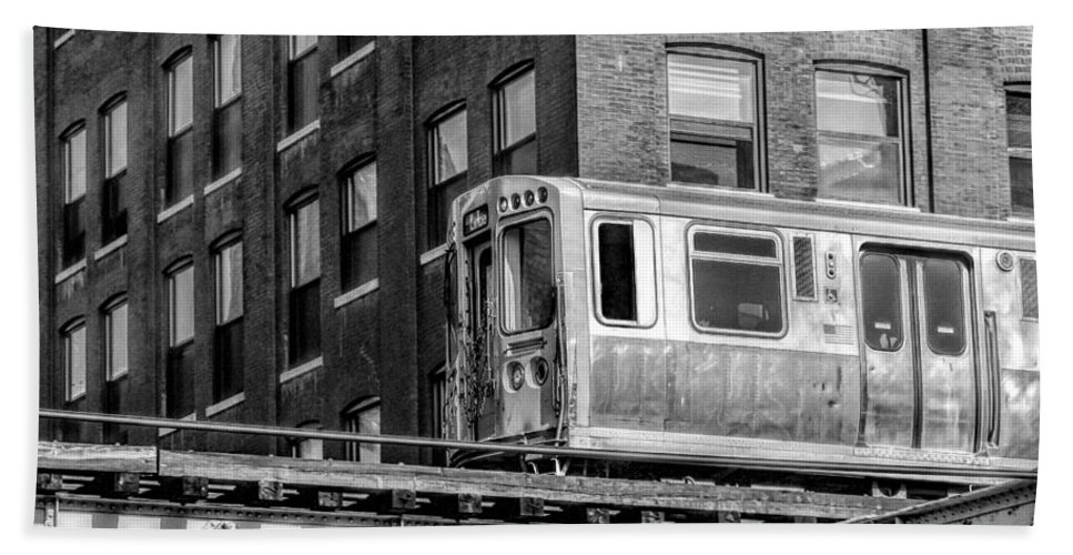 Chicago Hand Towel featuring the photograph Chicago El And Warehouse Black And White by Christopher Arndt