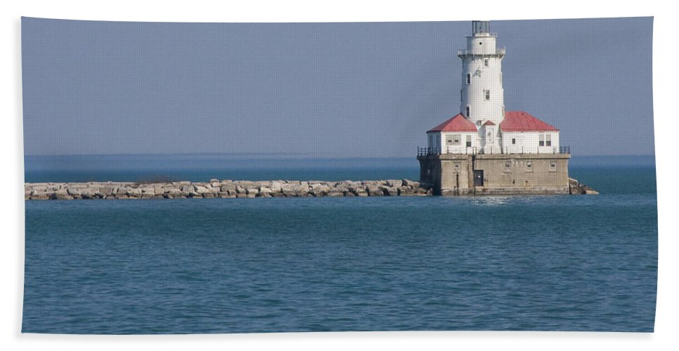 Chicago Windy City Lighthouse Light Harbor Lake Michigan Water Blue Sky Red Roof Safe Guide Bath Towel featuring the photograph Chicago Harbor Lighthouse by Andrei Shliakhau