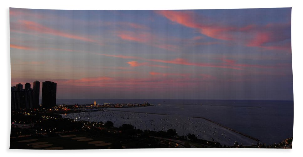 Chicago Bath Sheet featuring the photograph Chicago Lakefront At Sunset by Michael Bessler