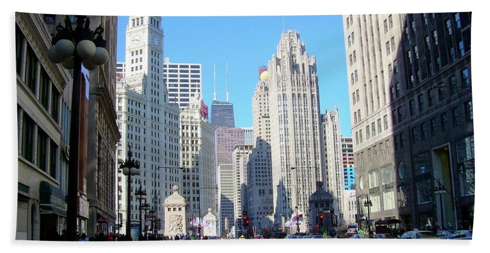 Chicago Bath Sheet featuring the photograph Chicago Miracle Mile by Anita Burgermeister