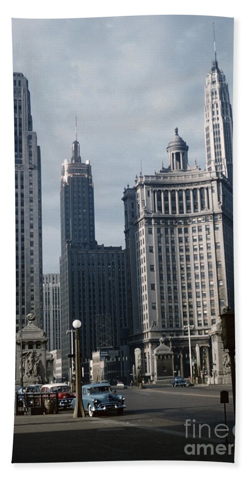 Michigan Avenue Hand Towel featuring the photograph Chicago by Oleg Konin