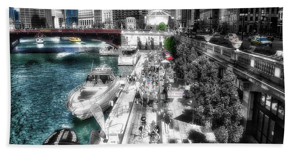 Chicago Hand Towel featuring the photograph Chicago Parked On The River Walk 03 Sc by Thomas Woolworth