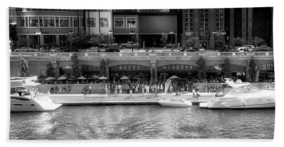 Chicago River Hand Towel featuring the photograph Chicago Parked On The River Walk Panorama 02 Bw by Thomas Woolworth