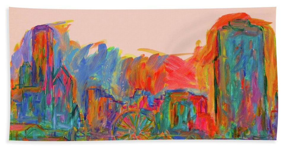 Chicago Prints For Sale Bath Sheet featuring the painting Chicago Peace by Kendall Kessler