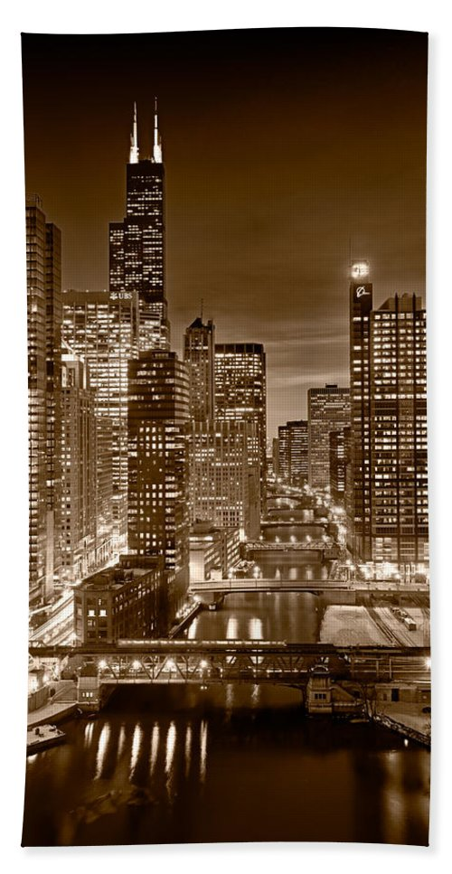 Boeing Hand Towel featuring the photograph Chicago River City View B And W by Steve gadomski