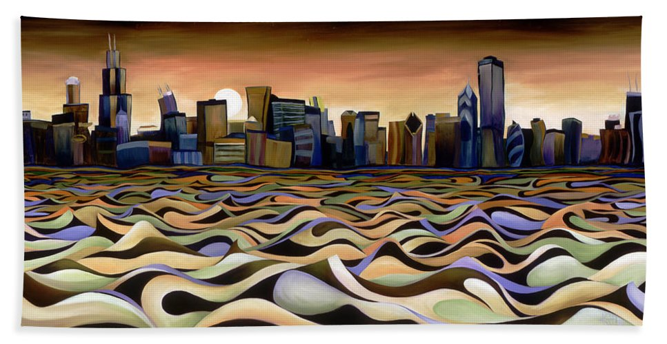Chicago Skyline City Windy Waves Color Stripes Brown Tan Blue Buildings Sears Tower Hancock Lake Front Hand Towel featuring the painting Chicago Skyline 5 by Kate Hoyer