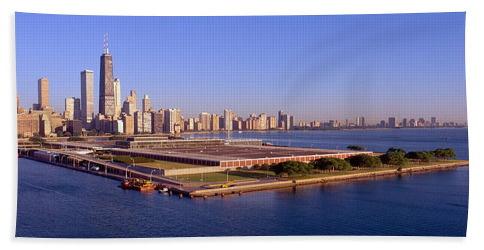 Photography Bath Sheet featuring the photograph Chicago Skyline, Filtration Plant by Panoramic Images