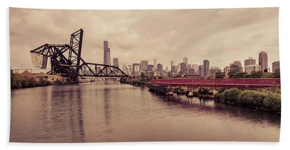 Chicago Hand Towel featuring the photograph Chicago Skyline From The Southside With Red Bridge by Anthony Doudt