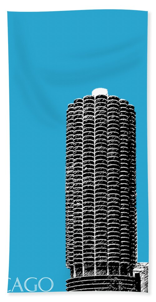 Architecture Bath Towel featuring the digital art Chicago Skyline Marina Towers - Teal by DB Artist