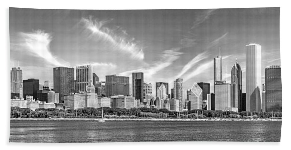 Chicago Hand Towel featuring the photograph Chicago Skyline Panorama Black And White by Christopher Arndt