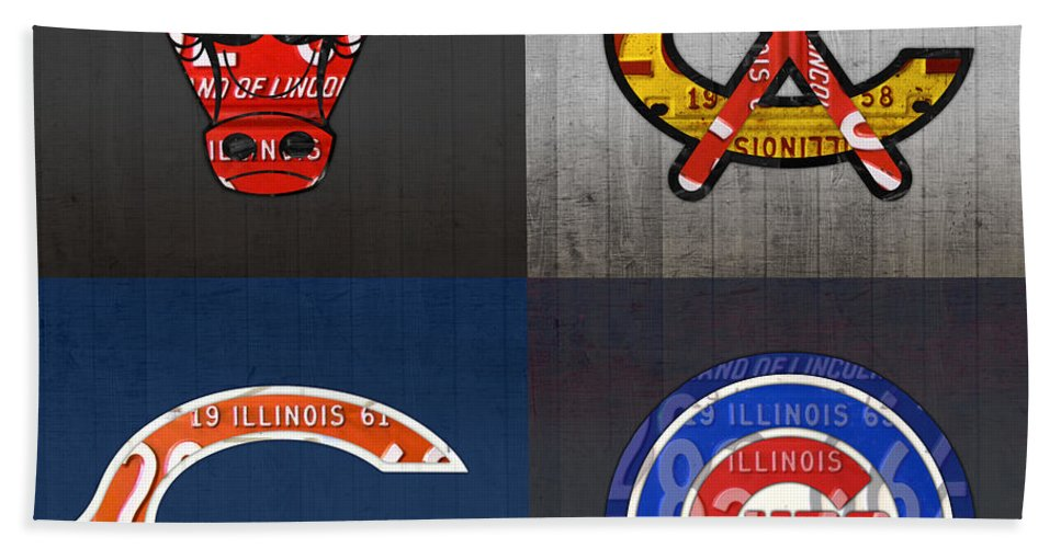 Chicago Bath Sheet featuring the mixed media Chicago Sports Fan Recycled Vintage Illinois License Plate Art Bulls Blackhawks Bears And Cubs by Design Turnpike