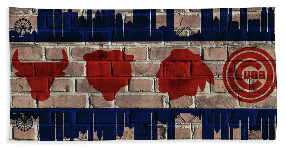 Chicago Sports Flag Hand Towel featuring the mixed media Chicago Sports Team Flag On Brick by Dan Sproul