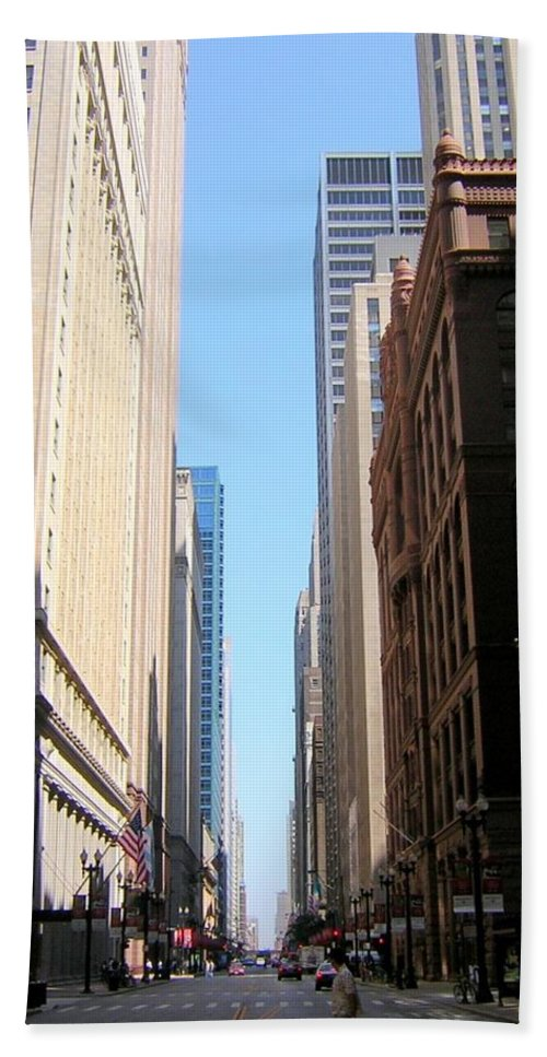 Chicago Hand Towel featuring the photograph Chicago Street With Flags by Anita Burgermeister