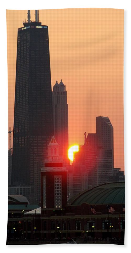 Photography Bath Sheet featuring the photograph Chicago Sunset by Glory Fraulein Wolfe