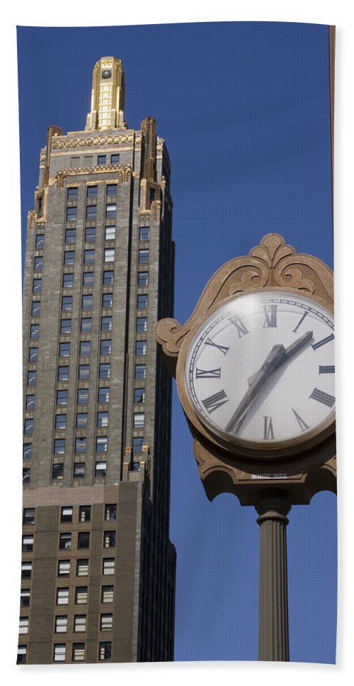 Chicago City Windy Wind Blue Sky Clock Time Building Tall High Big Gold Sun Sunny Metro Urban Hand Towel featuring the photograph Chicago Time by Andrei Shliakhau