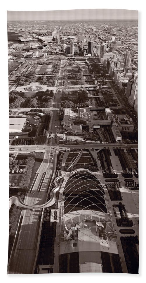 Aerial Hand Towel featuring the photograph Chicagos Front Yard B W by Steve Gadomski