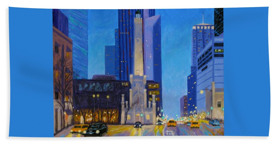 Chicago Art Bath Sheet featuring the painting Chicago's Water Tower At Dusk by J Loren Reedy