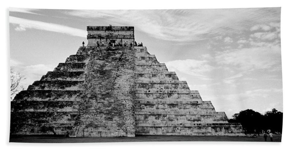Mexico Bath Sheet featuring the photograph Chichen Itza B-w by Anita Burgermeister