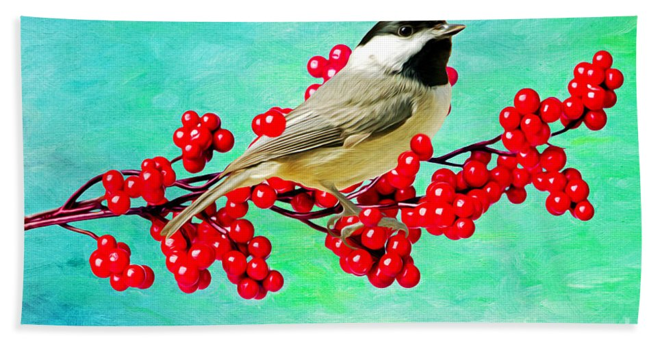 Carolina Chickadee Hand Towel featuring the photograph Chickadee And Winterberry by Laura D Young