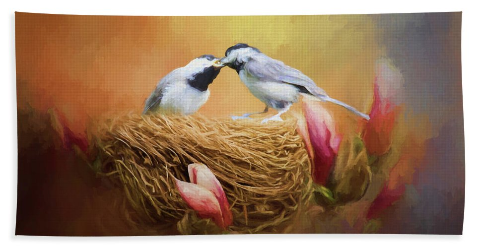 Chickadee Hand Towel featuring the photograph Chickadee Lunch by Ericamaxine Price