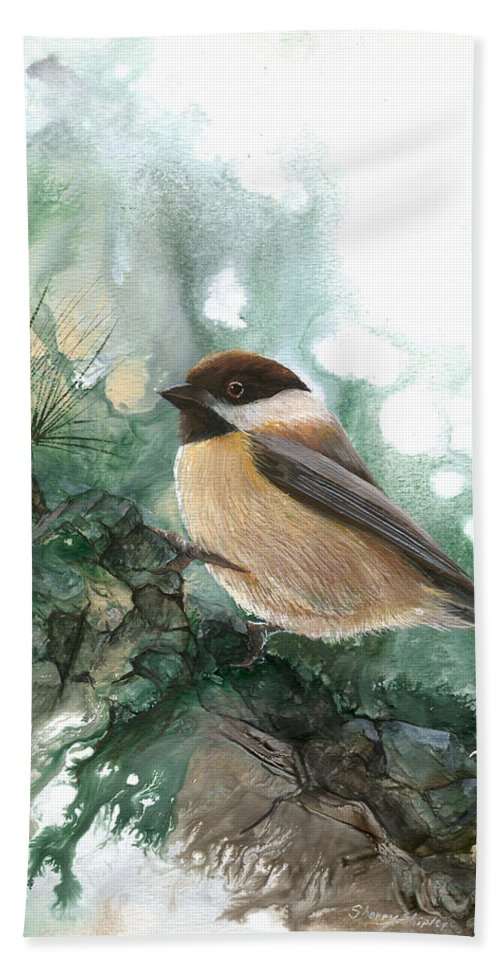 Bird Hand Towel featuring the painting Chickadee by Sherry Shipley