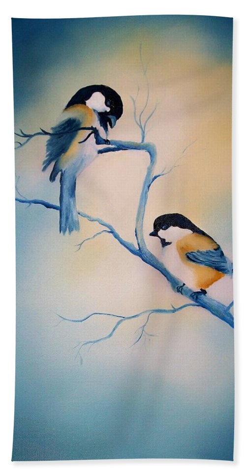 Birds Bath Sheet featuring the painting Chickadees by Leo Gordon