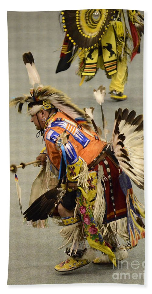 Pow Wow Bath Sheet featuring the photograph Pow Wow Chicken Dancers 3 by Bob Christopher