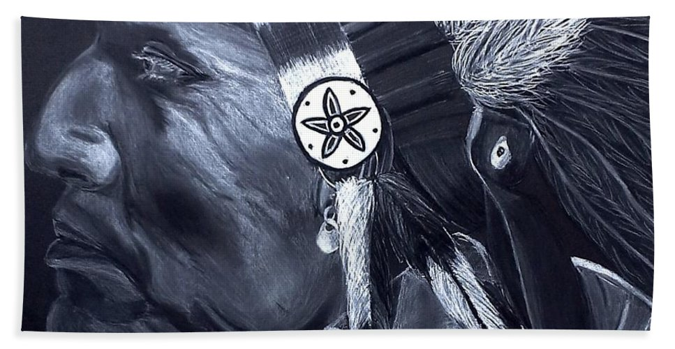 Charcoal Hand Towel featuring the drawing Chief by Ashley Casterline