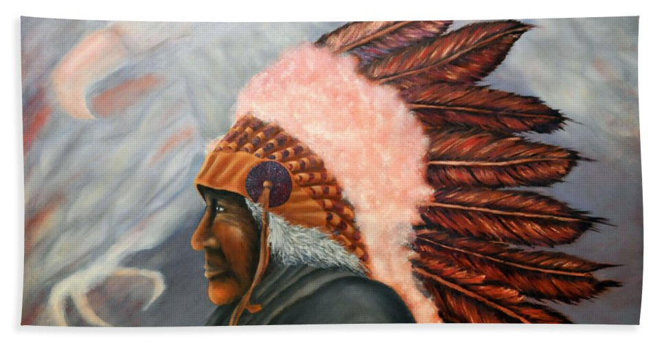 Native American Bath Sheet featuring the painting Chief Eagle Cloud by Barney Napolske