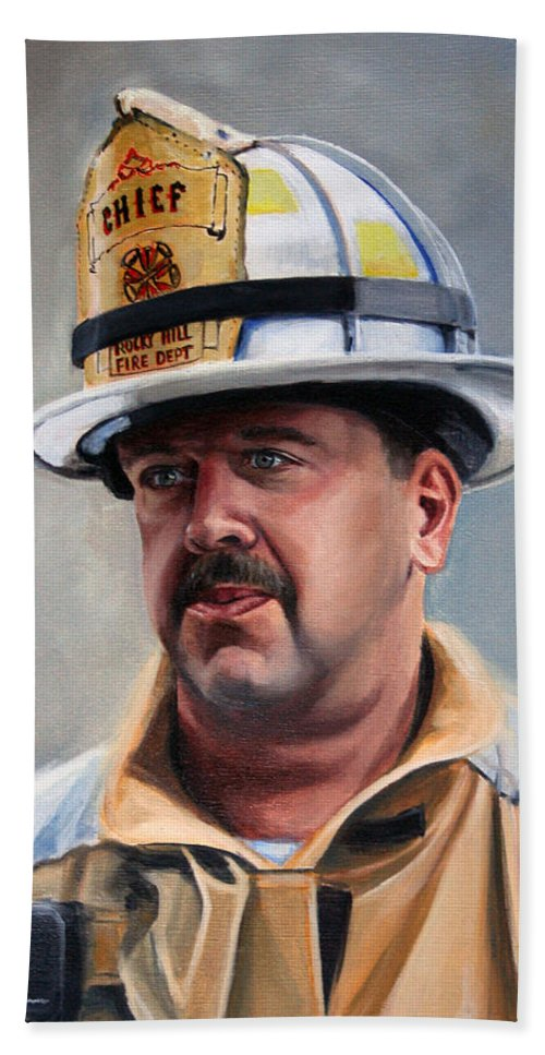 Fire Chief Hand Towel featuring the painting Chief Garrahy by Paul Walsh