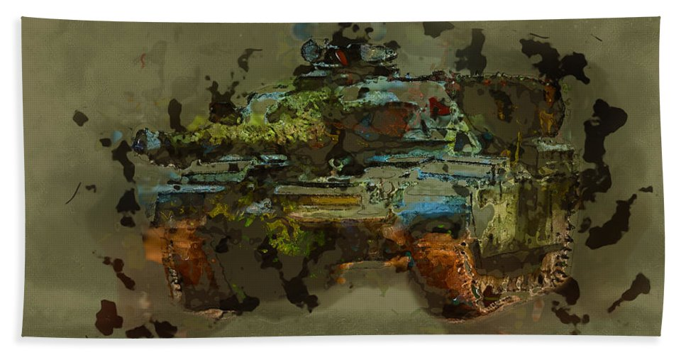 Army Bath Sheet featuring the digital art Chieftain Tank Abstract by Roy Pedersen