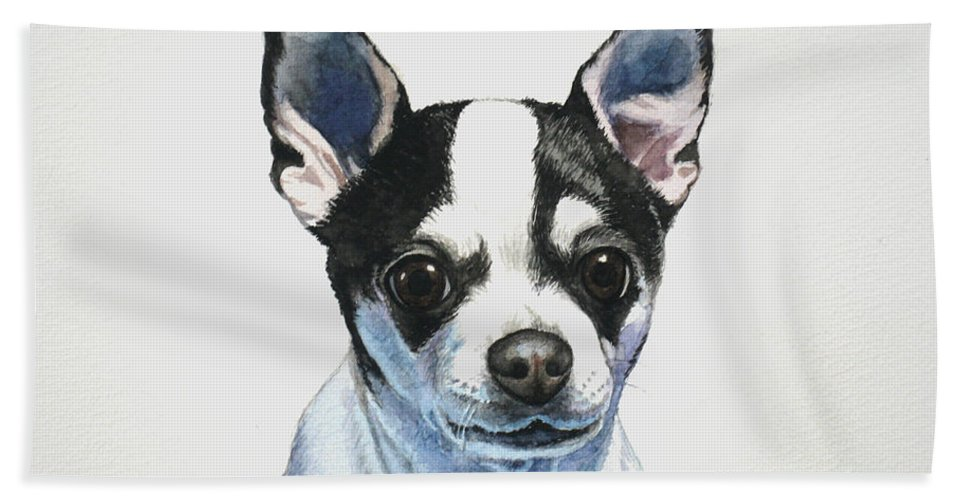 Chihuahua Bath Towel featuring the painting Chihuahua Black Spots With White by Christopher Shellhammer
