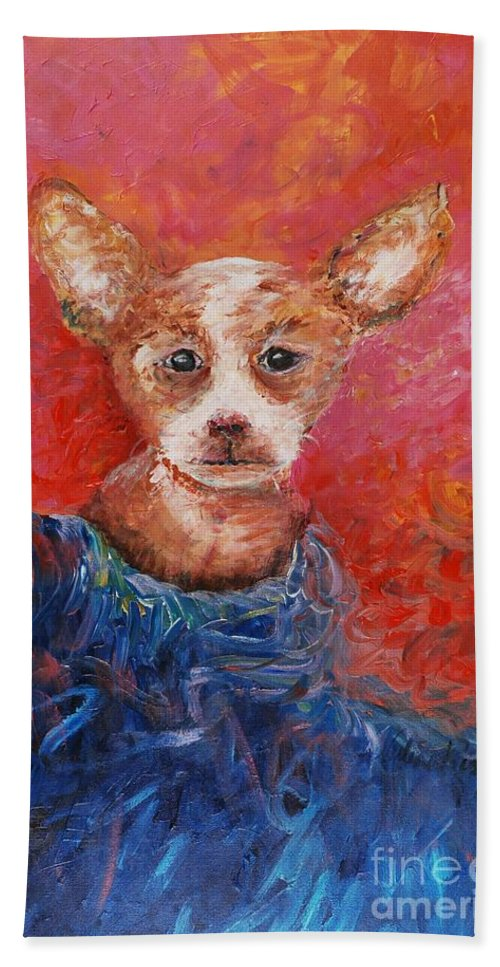 Dog Bath Towel featuring the painting Chihuahua Blues by Nadine Rippelmeyer