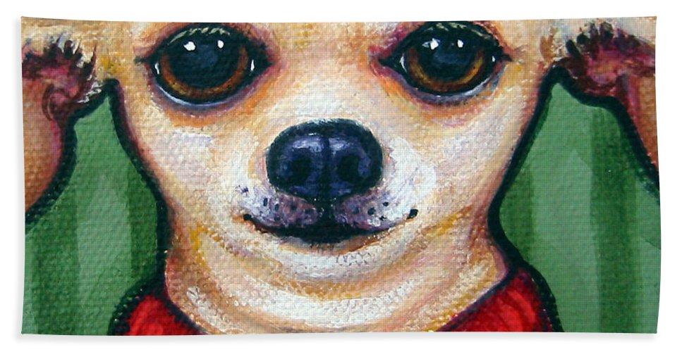 Rebecca Korpita Hand Towel featuring the painting Chihuahua In Red Sweater - Boss Dog by Rebecca Korpita