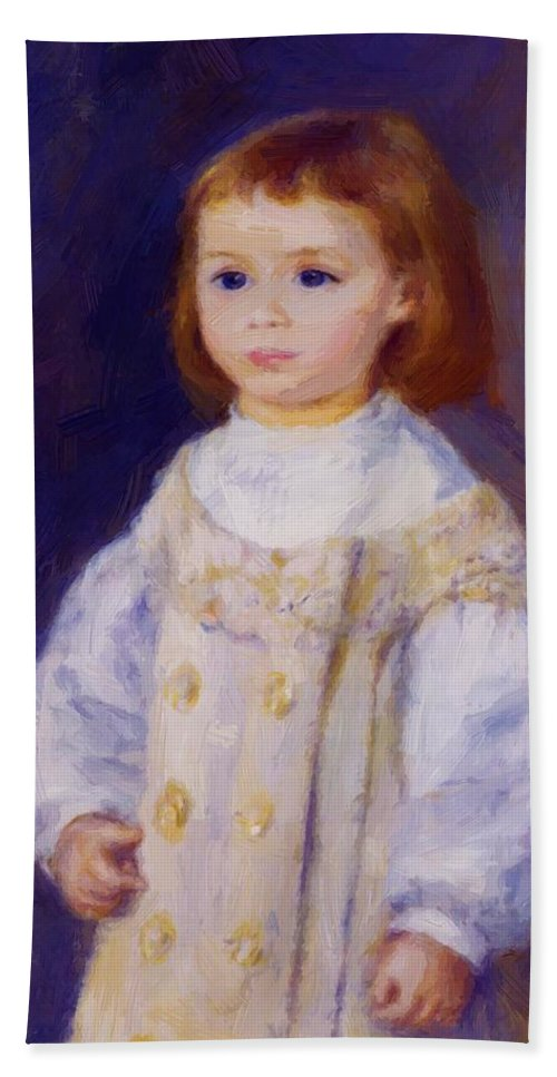 Child Hand Towel featuring the painting Child In A White Dress Lucie Berard 1883 by Renoir PierreAuguste