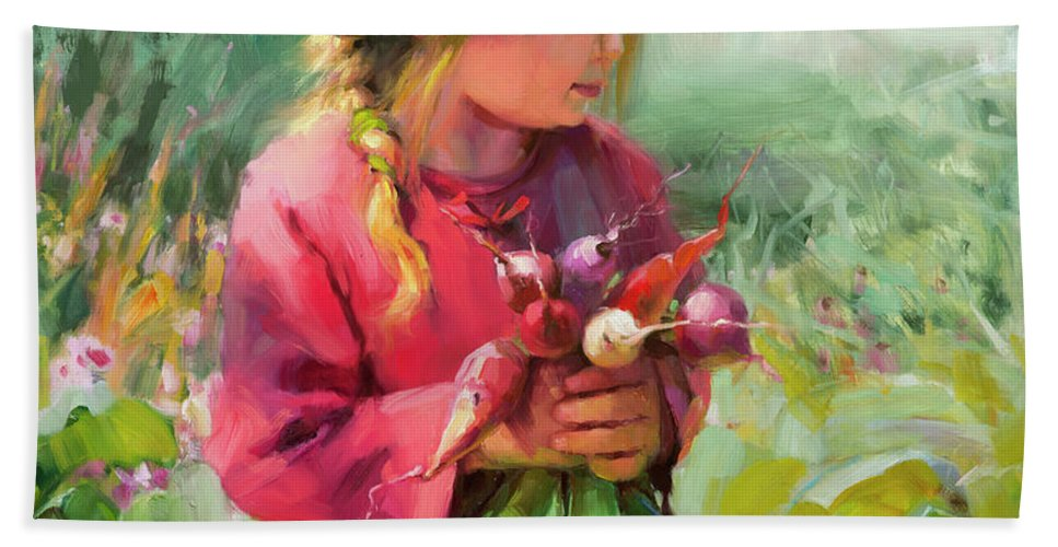 Child Hand Towel featuring the painting Child Of Eden by Steve Henderson