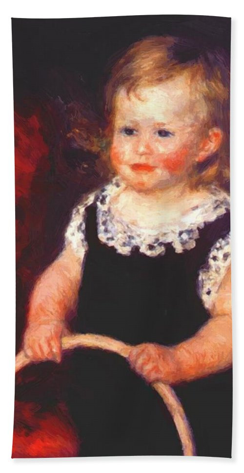 Child Hand Towel featuring the painting Child With A Hoop by Renoir PierreAuguste