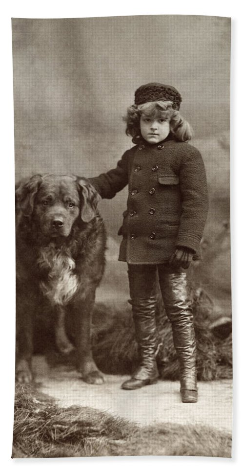 1885 Bath Sheet featuring the photograph Child With Dog, C1885 by Granger