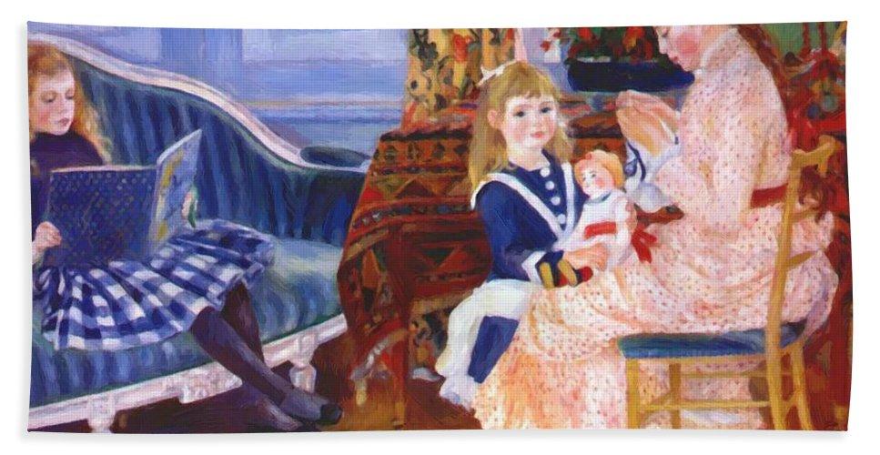 Children Hand Towel featuring the painting Children Afternoon At Wargemont Marguerite 1884 by Renoir PierreAuguste