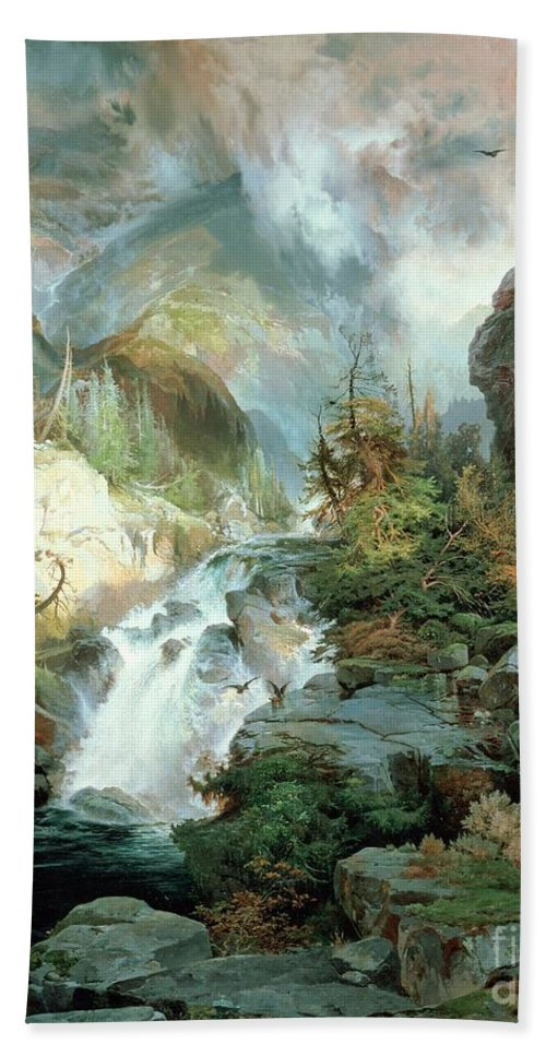 Children Of The Mountain Hand Towel featuring the painting Children Of The Mountain by Thomas Moran