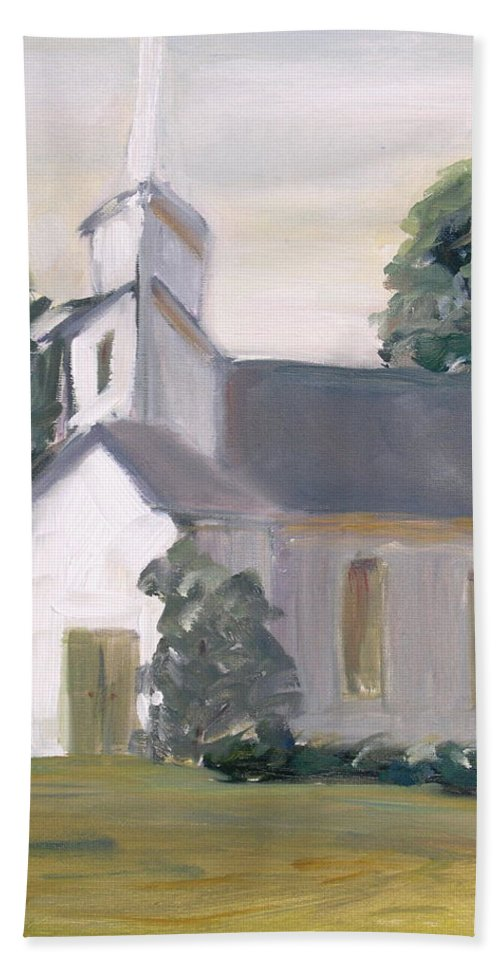 Church Worship Landscape Building Hand Towel featuring the painting Children by Patricia Caldwell