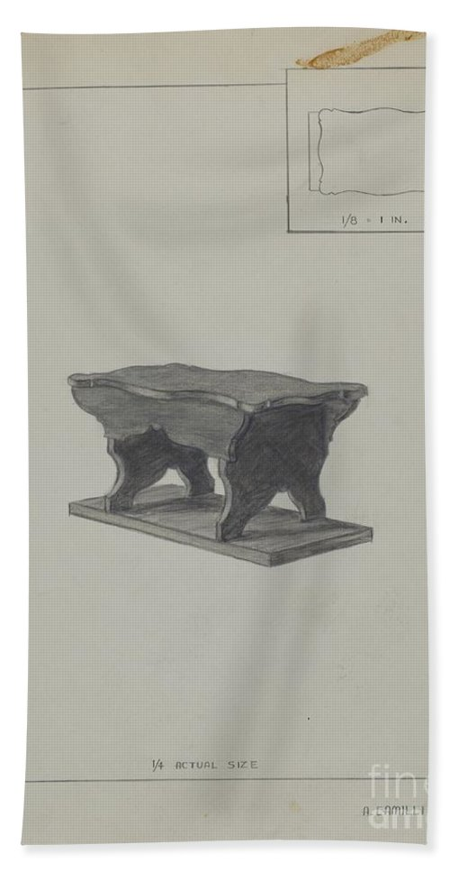 Hand Towel featuring the drawing Child's Bench by Albert Camilli