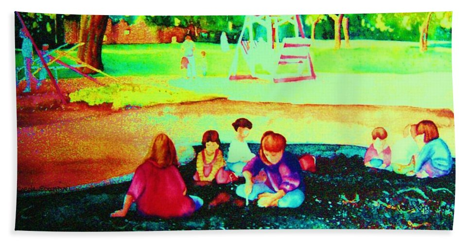 Central Park Bath Sheet featuring the painting Childs Play by Carole Spandau
