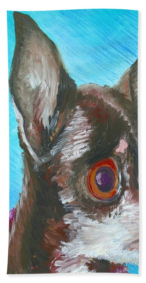 Dog Bath Towel featuring the painting Chili Chihuahua by Minaz Jantz