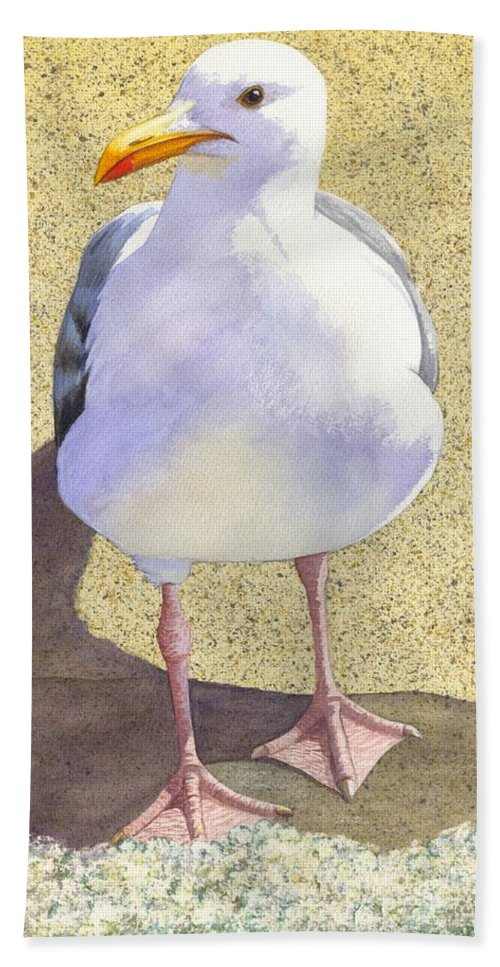 Seagull Hand Towel featuring the painting Chilly by Catherine G McElroy