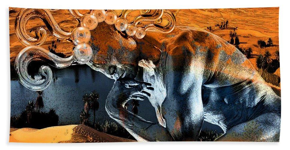 Spirit Hand Towel featuring the digital art Chimera by Marian Voicu