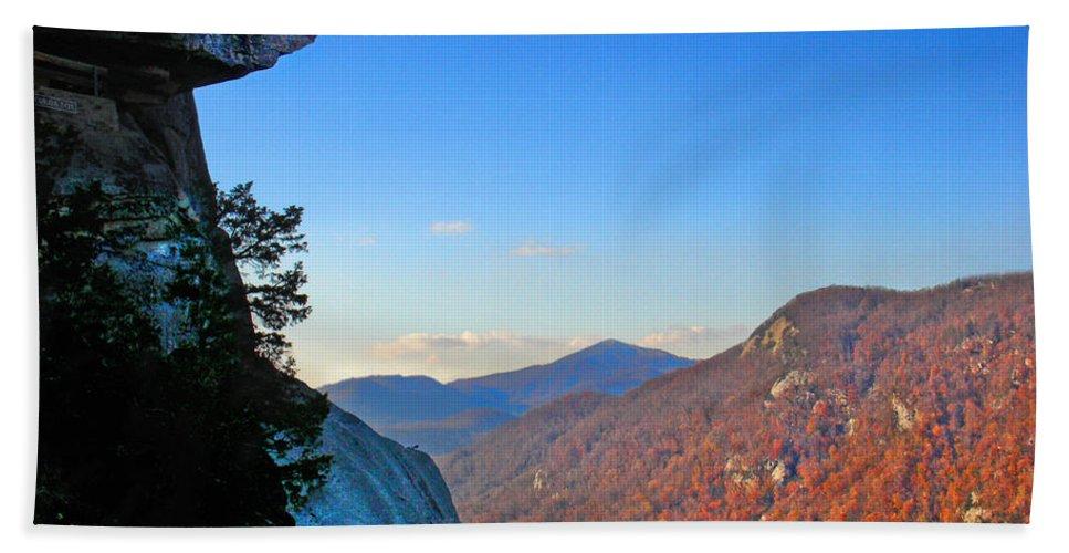 Landscape Bath Sheet featuring the photograph Chimney Rock 2 by Steve Karol