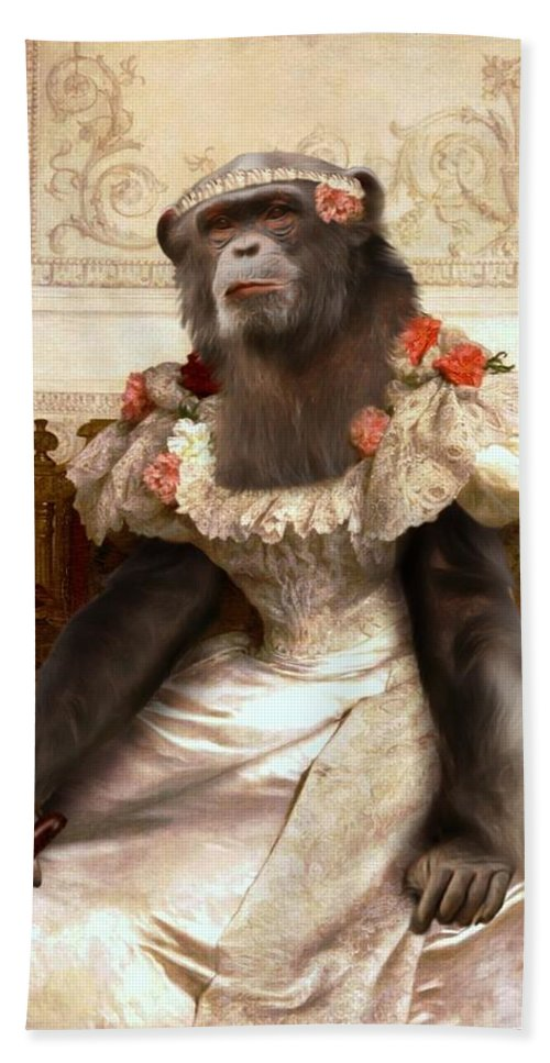 Bouguereau Bath Sheet featuring the painting Chimp In Gown by Gravityx9 Designs