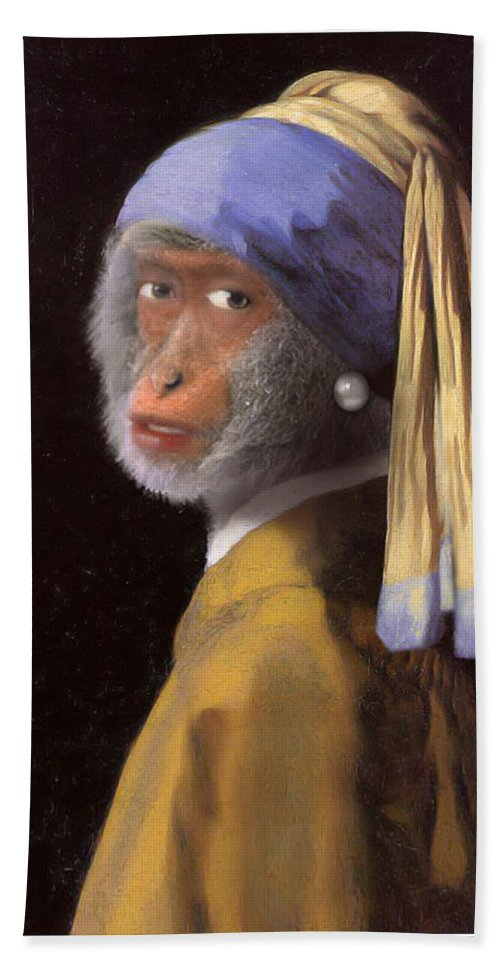 Vermeer Hand Towel featuring the painting Chimp With A Pearl Earring by Gravityx9 Designs